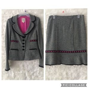 Nanette Lepore houndstooth tweed skirt suit S/M